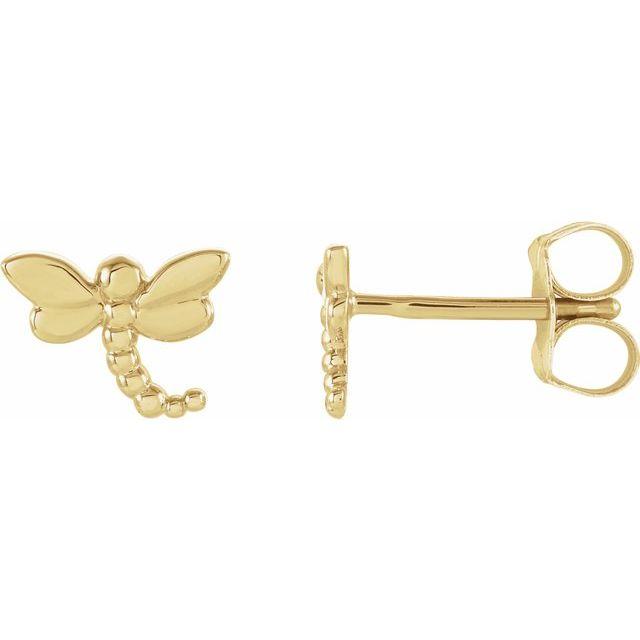 14K Yellow 7.5x6 mm Dragonfly Earrings