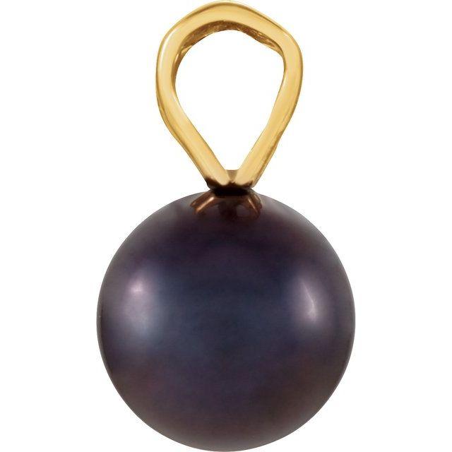 14K Yellow Black Akoya Cultured Pearl Pendant