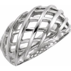 14K White 11 mm Latticework Dome Ring