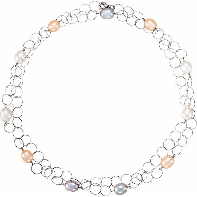 Sterling Silver Freshwater Multi-Colored Pearl 40