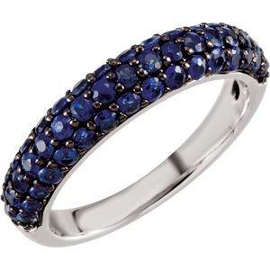 14K White Blue Sapphire Ring