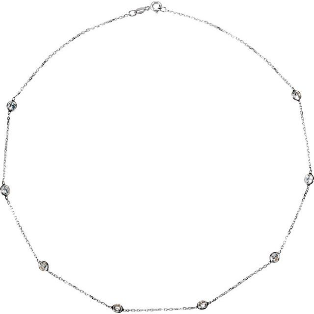 Sterling Silver 4 mm Round Cubic Zirconia Station 16