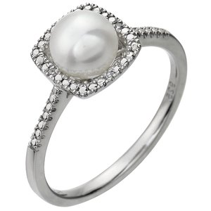 Sterling Silver Cultured Freshwater Pearl & .01 CTW Diamond Ring Size 6