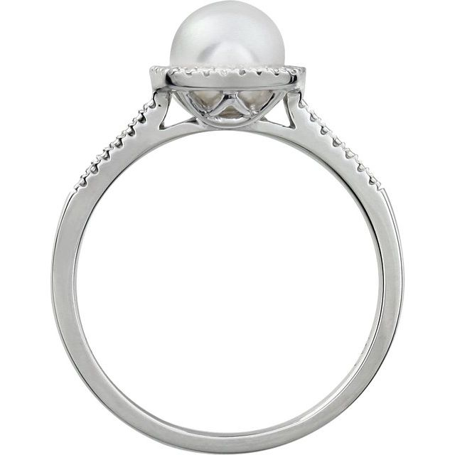 Sterling Silver Cultured Freshwater Pearl & .01 CTW Diamond Ring Size 8