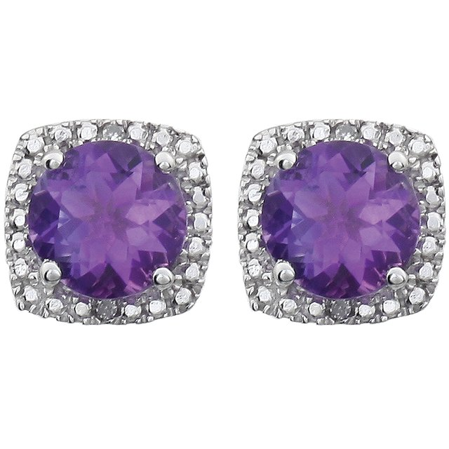 Sterling Silver Amethyst & .015 CTW Diamond Earrings