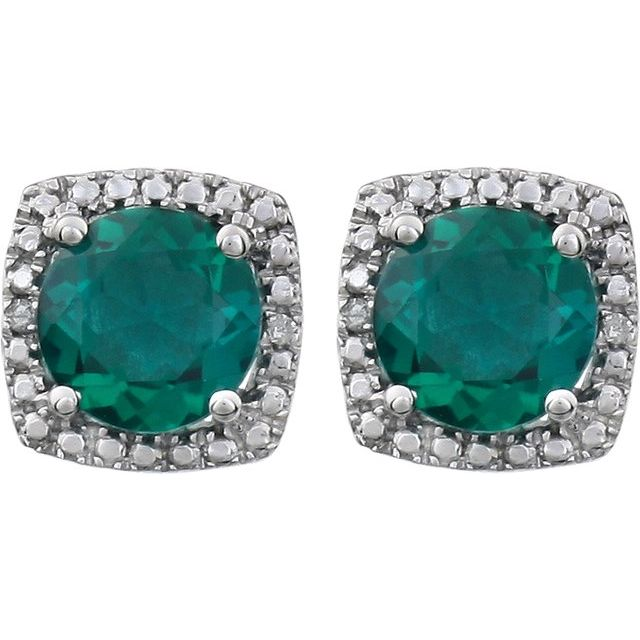 Sterling Silver Created Emerald & .015 CTW Diamond Earrings