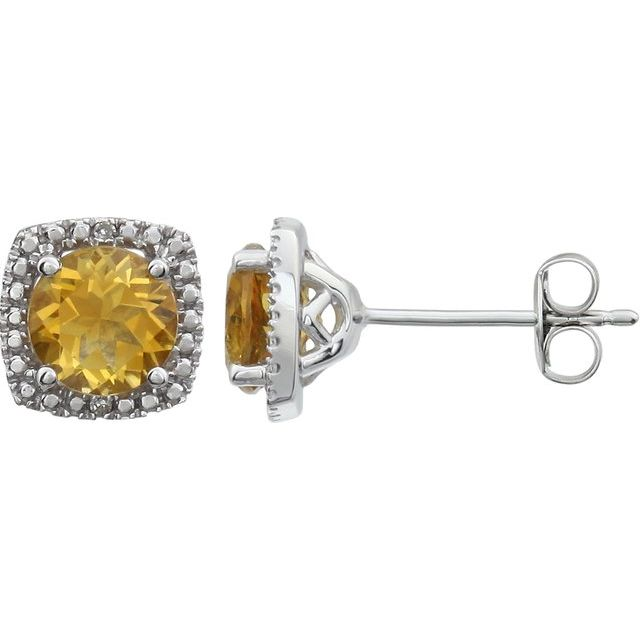 Sterling Silver Citrine & .015 CTW Diamond Earrings