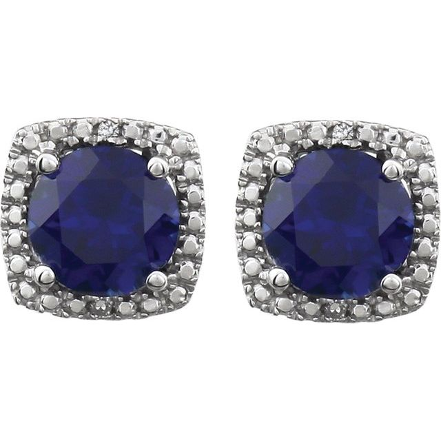 Sterling Silver Lab-Grown Blue Sapphire & .015 CTW Natural Diamond Earrings