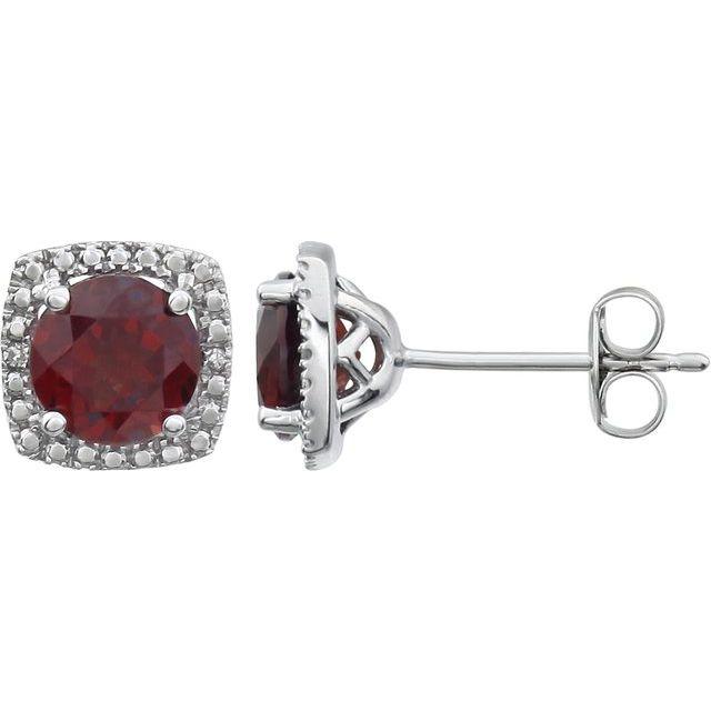 Sterling Silver Mozambique Garnet & .015 CTW Diamond Earrings