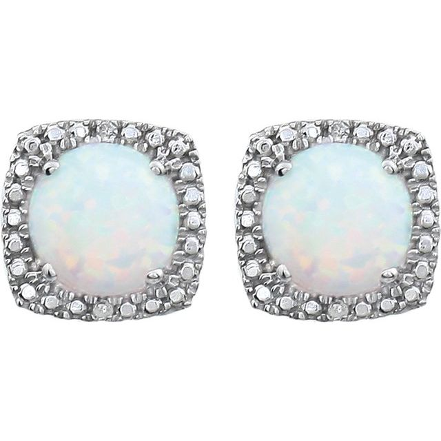 Sterling Silver Created Opal & .015 CTW Diamond Earrings
