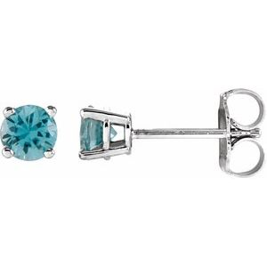 14K White 4 mm Round Blue Zircon Earrings