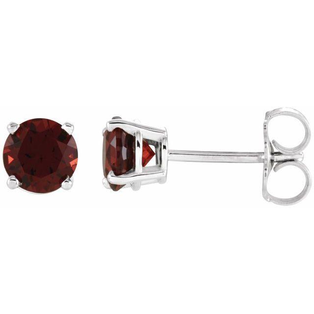 14K White 5 mm Round Mozambique Garnet Earrings