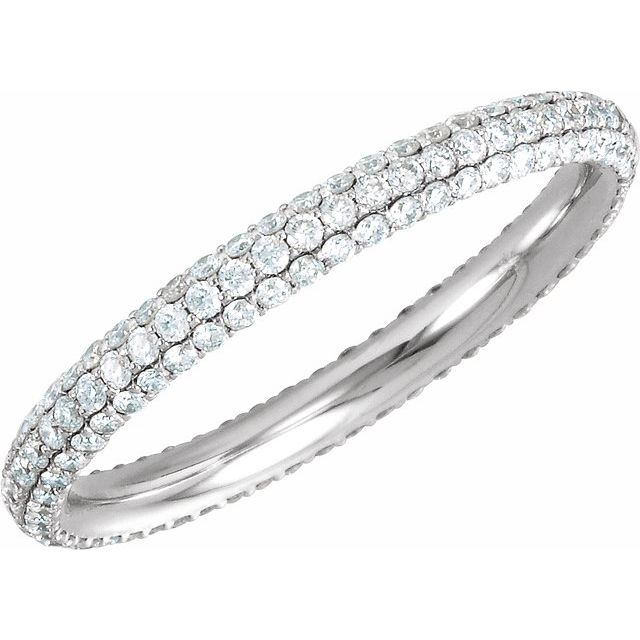 14K White 7/8 CTW Diamond Eternity Band Size 6.5