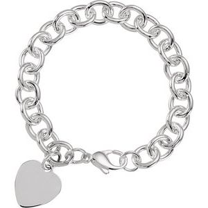 "Sterling Silver Heart Charm Cable 7.5"" Bracelet"