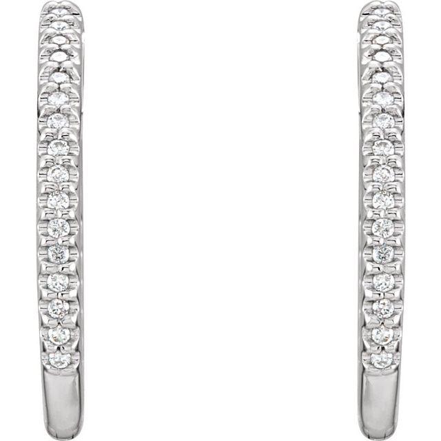 14K White 26.7 mm 3/4 CTW Natural Diamond Inside-Outside Hoop Earrings