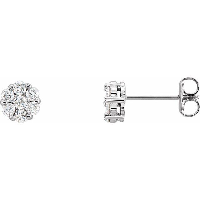 14K White 1/2 CTW Diamond Cluster Earrings