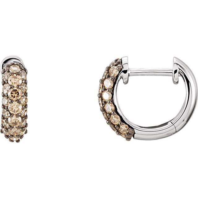 14K White 5/8 CTW Natural Brown Diamond Huggie Earrings