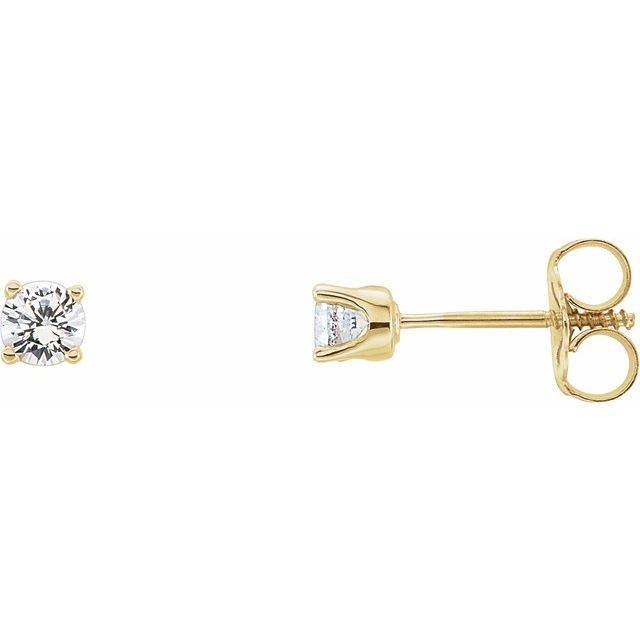 14K Yellow 3 mm Round White Sapphire Youth Birthstone Earrings
