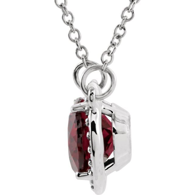 14K White Rhodolite Garnet & .05 CTW Diamond 16.5