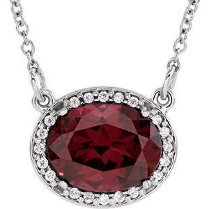 """14K White Rhodolite Garnet & .05 CTW Diamond 16.5"""" Necklace"""