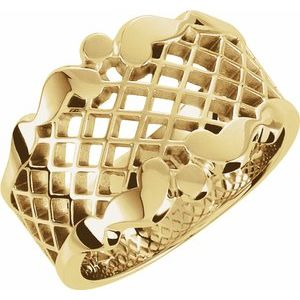 14K Yellow 14.5 mm Latticework Band