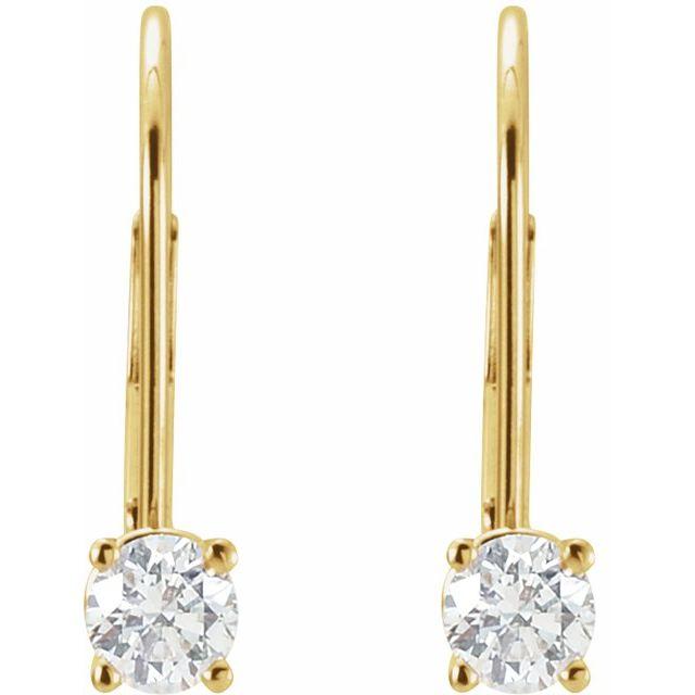 Diamond Solitaire Lever Back Earrings