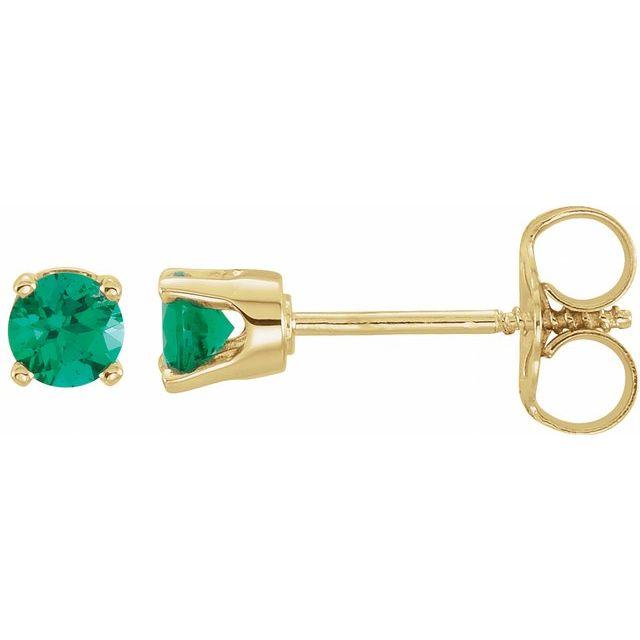 14K Yellow Lab-Grown Emerald Earrings