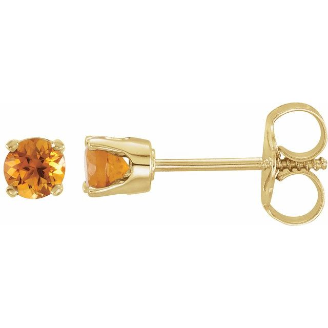 14K Yellow 3 mm Round Citrine Youth Birthstone Earrings