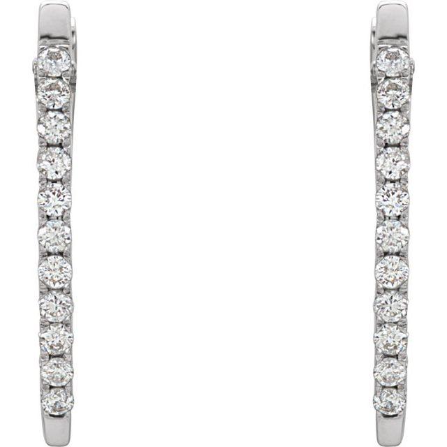 14K White 1/3 CTW Diamond 20 mm Hoop Earrings