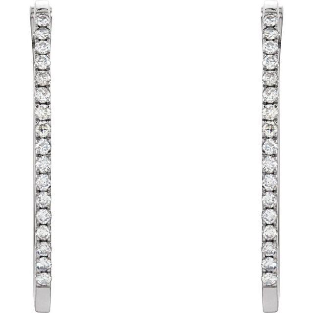 14K White 1/2 CTW Diamond 29 mm Hoop Earrings
