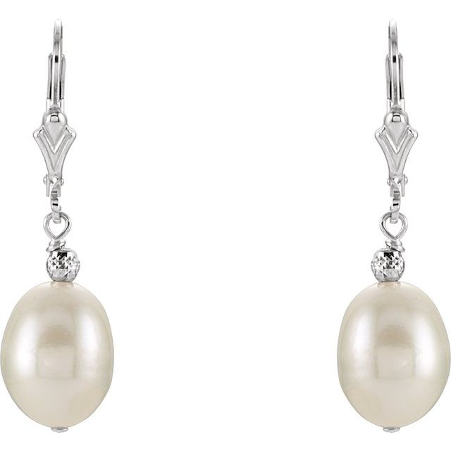Sterling Silver 9-9.5 mm Freshwater Cultured Pearl Earrings