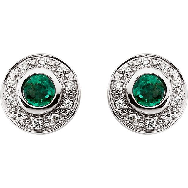 14K White 3.5 mm Round Emerald & 1/10 CTW Diamond Earrings