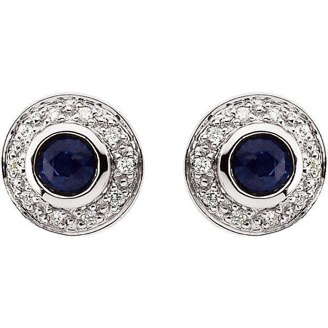 14K White Natural Blue Sapphire & 1/10 CTW Natural Diamond Earrings