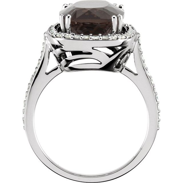 14K White Smoky Quartz & 1/2 CTW Diamond Ring