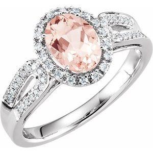 14K White Morganite & 1/5 CTW Diamond Ring