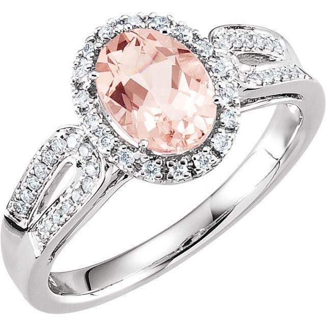 14K White Natural Morganite & 1/5 CTW Natural Diamond Ring