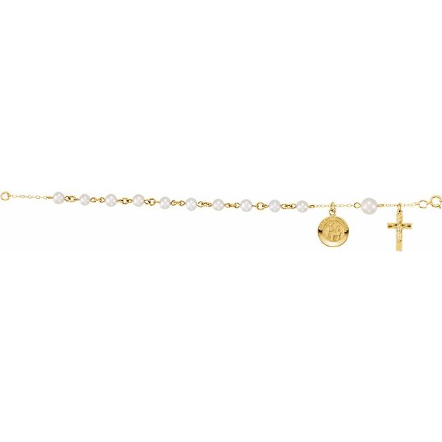 14K Yellow First Holy Communion Rosary Bracelet