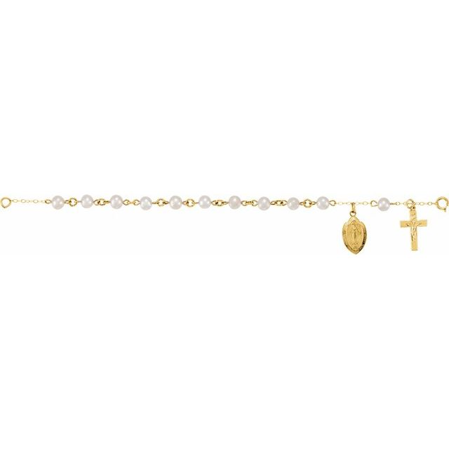 14K Yellow Freshwater Cultured Pearl Rosary Bracelet