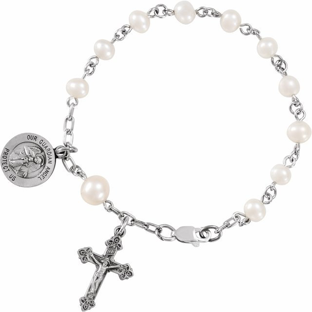 Sterling Silver Freshwater Cultured Pearl Our Guardian Angel Rosary 6