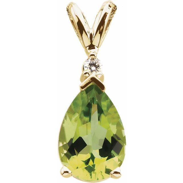 14K Yellow 10x7 mm Pear Peridot & .04 CT Diamond Pendant