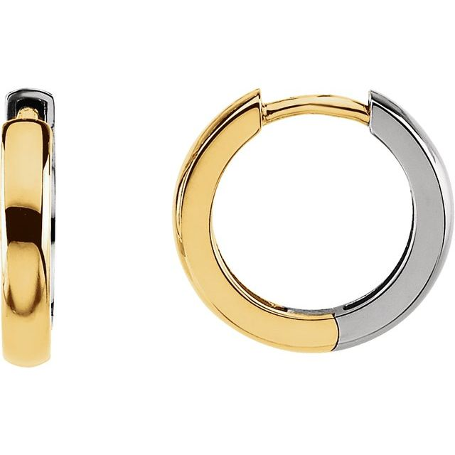 14K Yellow/White 14 mm Hinged Earrings