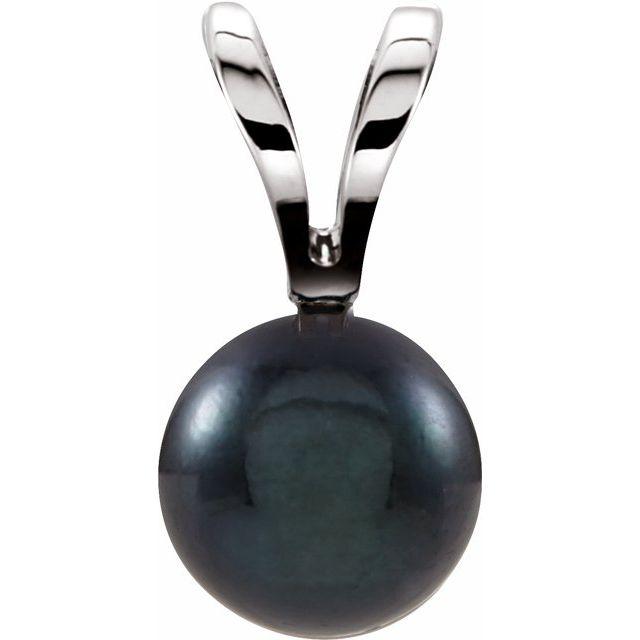 14K White Black Akoya Cultured Pearl Pendant