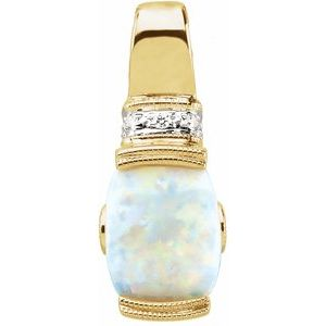 14K Yellow Opal, Pink Tourmaline & .025 CTW Diamond Pendant