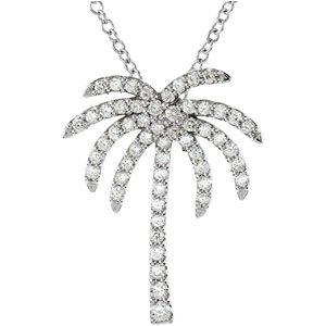 "Platinum 1/3 CTW Diamond Palm Tree 16"" Necklace"