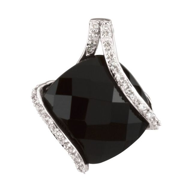 14K White Onyx & 1/10 CTW Diamond Freeform Pendant