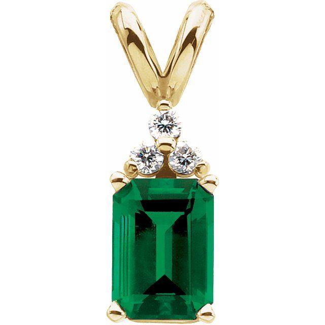 14K Yellow Lab-Grown Emerald & .05 CTW Diamond Pendant