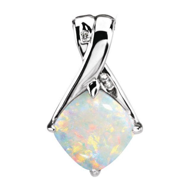 14K White Opal & .025 CTW Diamond Pendant