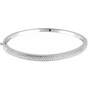 14K White 1 CTW Diamond Pave- Bracelet