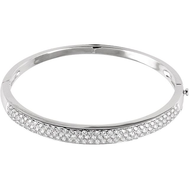 14K White 3 CTW Diamond Pave- Bangle 7