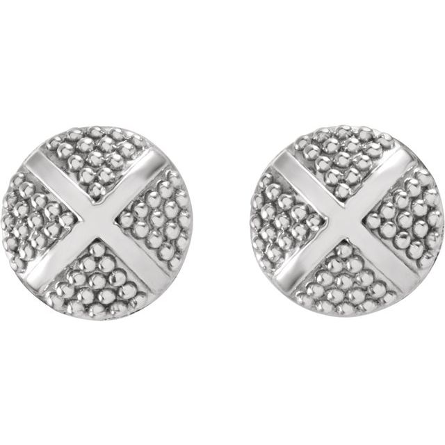 14K White Granulated X Earrings